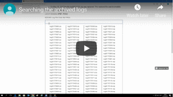Watch video: Searching the archived logs